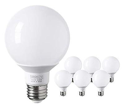 TORCHSTAR G25 Globe led Bulb, Vanity Light, 5W (40W Eqv.), UL-Listed, Warm White 3000K for Makeup Mirror, Pendant, Bathroom, Dressing Room, 3-Year Warranty, Pack of 6