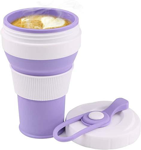 RCruning-EU Tazas de Viaje Silicona Plegable,Vaso de Agua de Silicona Plegable 550ml Copa plegable de Taza de café Portable del viaje Para senderismo Cámping Deportes al aire libre-Purple