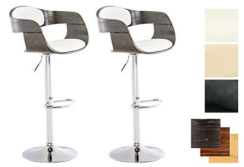 CLP Set van 2 barkrukken Kingston met kunstleren bekleding, in hoogte verstelbare barstoel met robuust metalen frame modern wit/grijs