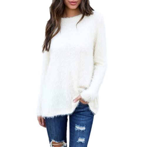 Blusa clásica de Cuello Redondo de Color sólido a la Moda para Mujer, suéter de Manga Larga, Informal, Holgado, cómodo, suéter con Cuello Redondo, Blusa 3XL