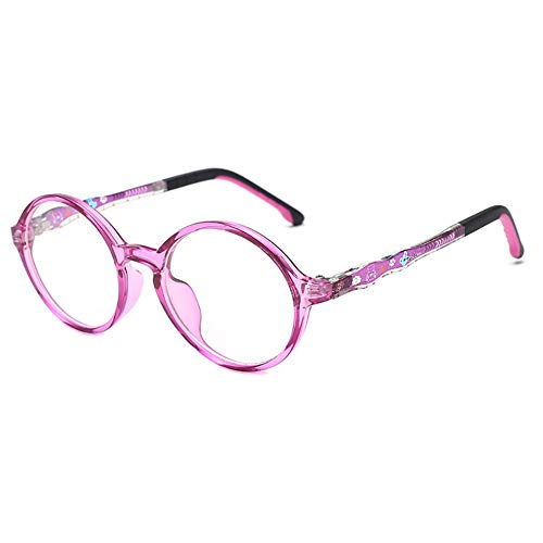 KOOSUFA Kinderbrille Ohne Stärke Blaulichtfilter Rund Brillenfassung Brillengestell Anti Blaulicht Brillen TR90 Rahmen Anti Müdigkeit für Mädchen und Jungen (Violett)