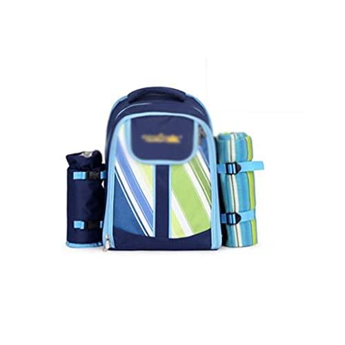 Dzwyc Contenedor de Comida Bolsa de Picnic de Mochila al Aire Libre portátil para 4 Personas, Bolso de vajilla Multifuncional Conjunto Camping BBQS Cesta de Picnic Gran Espacio (Color : Blue)