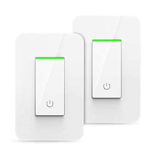 BrizLabs Smart Light Switch, Remote Control Wi-Fi Light Switch with Timer, 15A Wireless In-wall Light Switch, Works with Alexa/Google Assistant/IFTTT, No Hub Required, ETL & FCC Listed, White, 2 Pack