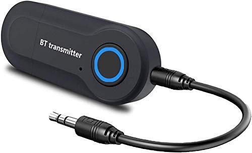 Transmetteur Bluetooth 5.0, Adaptateur Audio Portable sans Fil avec Câble Audio Numérique 3.5mm, Bluetooth Émetteur pour TV, PC, Voiture, système stéréo à Domicile