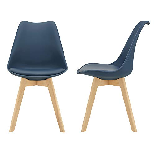 [en.casa] Juego de sillas de Comedor 81 x 49 x 57 cm Silla tapizada en Cuero sintético Patas de Madera de Haya Sillas de Cocina Set de 2 sillas Azúl