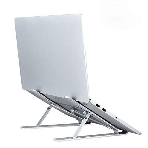 Laptop Stand, Leateck Adjustable Aluminum Computer Tablet Riser Lifter Stand, Ergonomic Foldable Portable Ventilated Desktop Holder Compatible with MacBook HP Dell and More 10-15.6in Notebook Silver