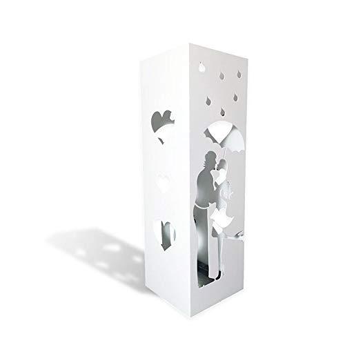 CAI & ZAI Portaombrelli Love Quadrato con vaschetta Estraibile - Dimensioni 15x15x47 cm- Bianco- Made in Italy- Design Moderno- Adatto Uso Interno e Esterno