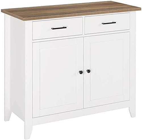 Aparador Moderno con 2 Cajones y 2 Puertas para Almacenamiento Mueble Auxilar de Cocina Salón Comedor y Entrada Aparador Buffet Blanco y Marrón 91x37.5x82cm