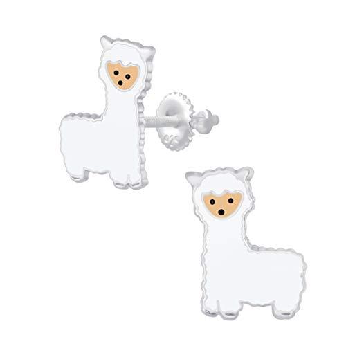 Screw Back Llama Alpaca Animal Earrings - Sterling Silver Gift