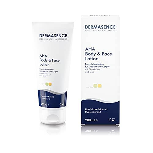 DERMASENCE AHA Body & Face Lotion - Körperlotion mit Fruchtsäure und Urea, bei zu Akne neigender Haut sowohl für die Gesichts- als auch Körperpflege, 200 ml