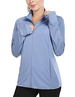 BALEAF Women's UPF 50+ Jackets Lightweight Full Zip Sun Shirts Running Long Sleeve Zip Pockets Outdoor Blue Size M by Baleaf