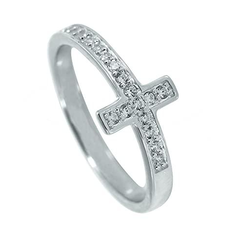 Aprlwealle Anillo de cruz para mujer, joyería inspiradora personalizada, regalo de plata de ley cristiana,