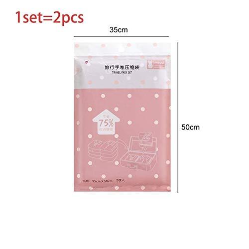 BCGT Sello comprimido balanceo de la Mano de vacío Bolsa Plegable Ropa Bolsa de Almacenamiento Bolsas for Viajar a casa Armario de Ropa Ahorro de Espacio Organizador (Color : Pink 35x50cm)