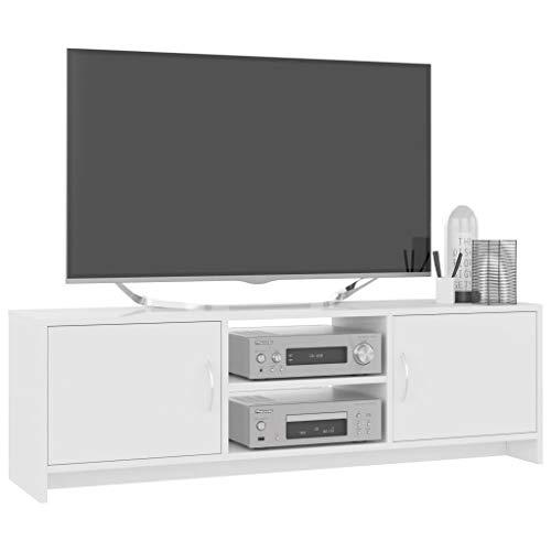 Desconocido Mueble de TV Televisor Moderno Mesa de Madera Soporte de TV 120 x 30 x 37,5 cm Blanco/Negro con 2 Estantes Armario Aparador Gabinete para Salon Sala de Estar [EU Stock]