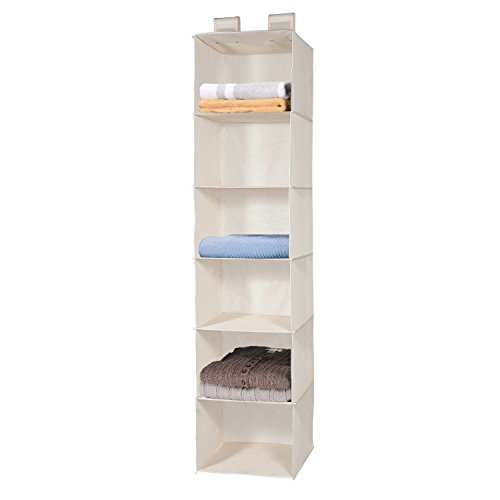 MaidMAX 6 Tiers Cloth Hanging Shelf for Closet Organizer with 2 Widen Straps Foldable Beige 515 Inches High