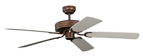 Ventilateur de plafond Pepeo Potkuri, sans éclairage, revêtement bronze antique, pâles de couleur blanc / osier