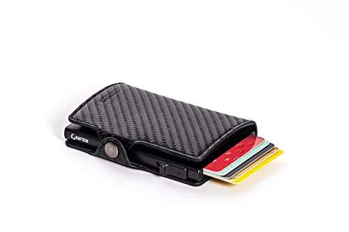 RAFTECH® V1 - Tarjetero para tarjetas de crédito, color negro con protección RFID, tarjetero y billetes RFID para hombre.