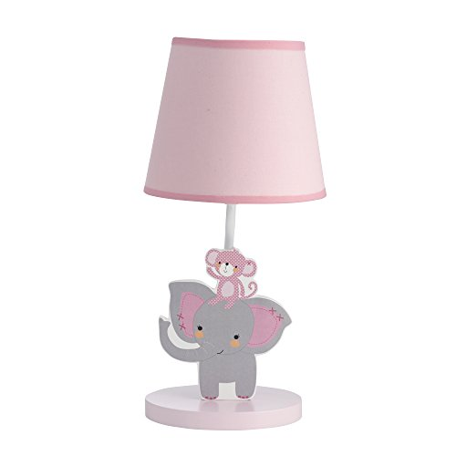 Bedtime Originals Twinkle Toes Monkey Elephant Lamp with Shade & Bulb, Pink/Gray