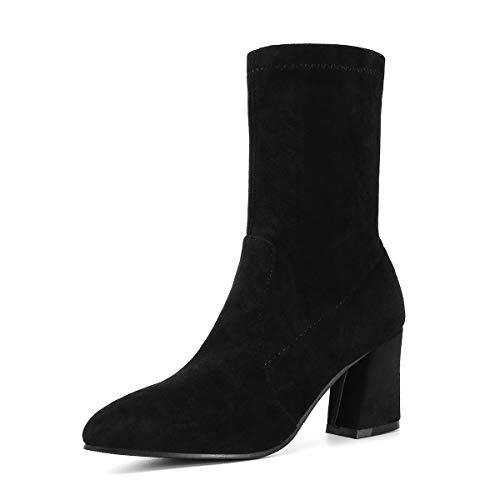 Comfortabel en veelzijdig temperament Mid Calf laarzen for vrouwen naaldhak Vegan Pointy Toe Slip In Faux Suede Soild gekleurde sokken rubberen zool High Top Fit Fashion hjm nvxie jfidmra