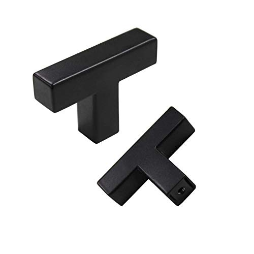 5Pack Goldenwarm Black Square T Bar Single Hole Knobs Cabinet Pull Drawer Handle Stainless Steel Modern Hardware for Kitchen and Bathroom Cabinets Cupboard (2in Overall Length) Kitchen Cabinet Knobs