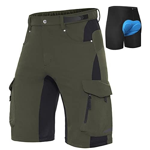 XKTTAC Pantalones Cortos de MTB para Hombre con Almohadilla de Asiento 3D de Secado Rápido para Bicicleta de Montaña Elasticidad Transpirable,Calzoncillos de Ciclismo(Verde+Calzoncillos, S)