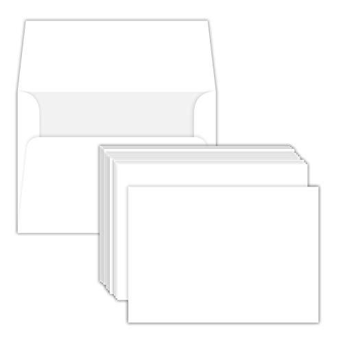 """Heavyweight Blank White Note Cards and Envelopes   4 1 4"""" X 5 1 2"""" Inches (A2)   50 Cards and 50 Envelopes   Not a Fold Over Card"""