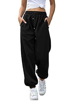 Womens Cinch Bottom Sweatpants Pockets High Waist Sporty Gym Athletic Fit Jogger Yoga Pants Lounge Trousers Black M