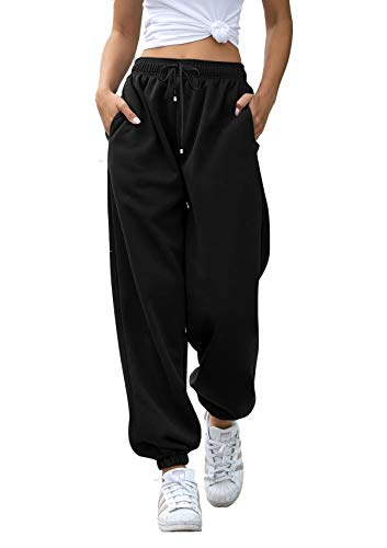 Casual Sweatpants for Women Pockets High Waist Sporty Gym Athletic Fit Jogger Pants Lounge Trousers Black S
