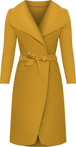 WearAll - Lange Gürtel Taschen öffnen Coat Damen Promi Wasserfall Jacke Cape - Senf - 44-50