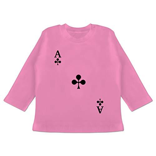 Karneval und Fasching Baby - Spielkarte Kreuz - 6/12 Monate - Pink - Verkleidung Kostüm - BZ11 - Baby T-Shirt Langarm