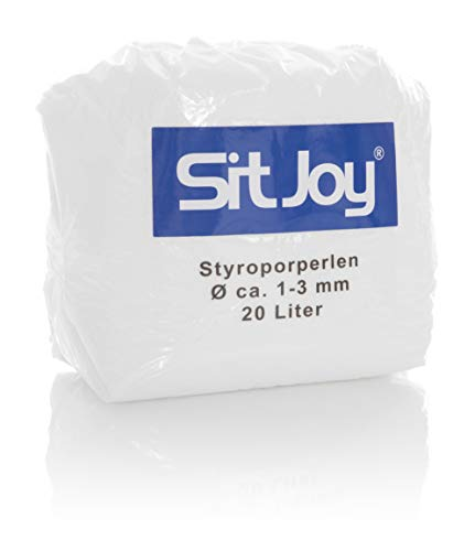 Sitjoy Sitzsack-Füllung | Styropor-Perlen [Ø ca. 1-3 mm] | 20 Liter | Nachfüllbeutel – EPS Styropor-Kugeln und Kügelchen für Kissen