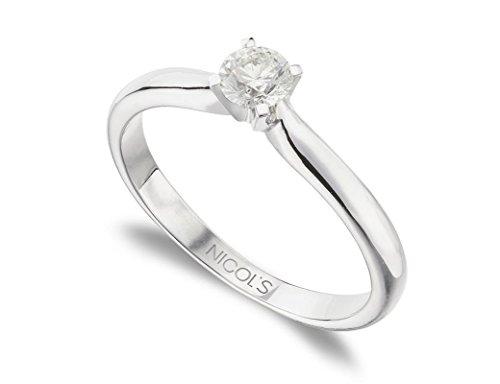 NICOLS 9992804 - Anillo de Compromiso Elle Oro Blanco (18kt) con Diamante 0.20 Ct