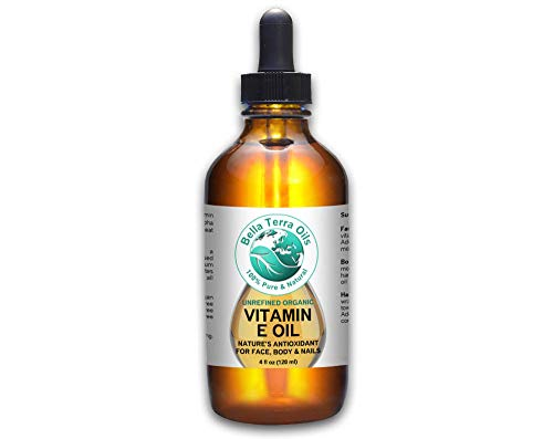 SALE - Vitamin E Oil 4oz. D-alpha Tocopherol. Organic. Premium. 100% Pure, Max Strength 75,000 IU. Anti-Aging. Antioxidant. Treats Scars, Wrinkles, Dark Spots. For Hair, Skin, Nails - Bella Terra Oils