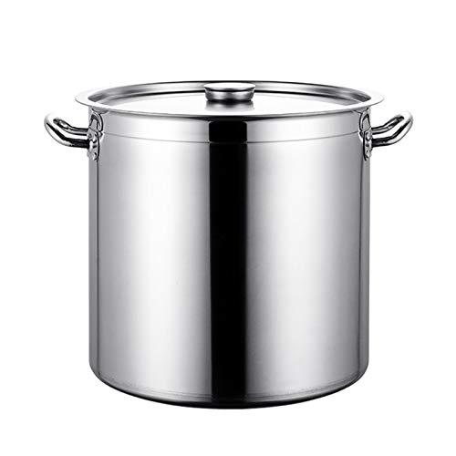 Utensilios de cocina al vapor Pottine, olla de sopa de acero inoxidable grande 304 para catering, fondo grueso de tres capas, para cocina de gas/cocina de inducción (30-60 cm) Charola para hornear