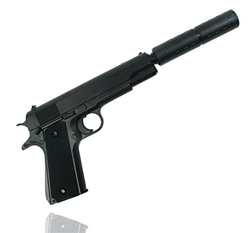 TK Gruppe Timo Klingler Pistole mit Schalldämpfer Kostüm Erwachsene 6 mm für Fasching Karneval Pistole wie Geheimagent, Lara Croft, SWAT, Tomb Raider, Polizei
