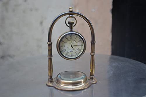 Nautical India Desk Clocks Nautical Functional Compass Antique Hanging Watch Royal Marine Clocks Desktop Office Table Clock with Compass Collectibles Brass Antique Finish