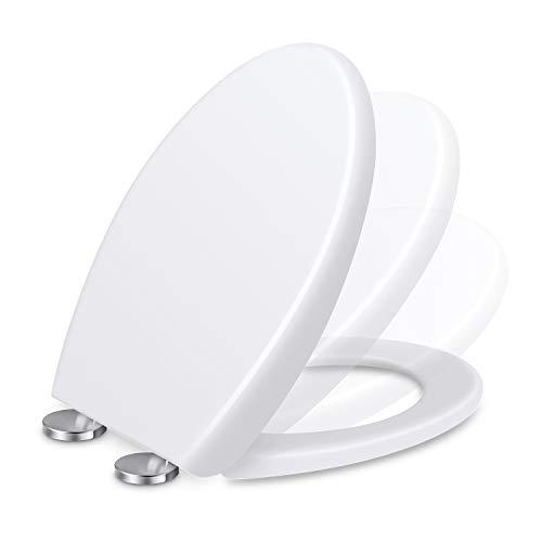 Toilettendeckel, Renfox WC Sitz mit Softclose Absenkautomatik, Klodeckel mit Quick-Release Funktion für leichte Reinigung, Edelstahl-Befestigung, Antibacterial Toilet Seat O-Shape PP Toilet Seat
