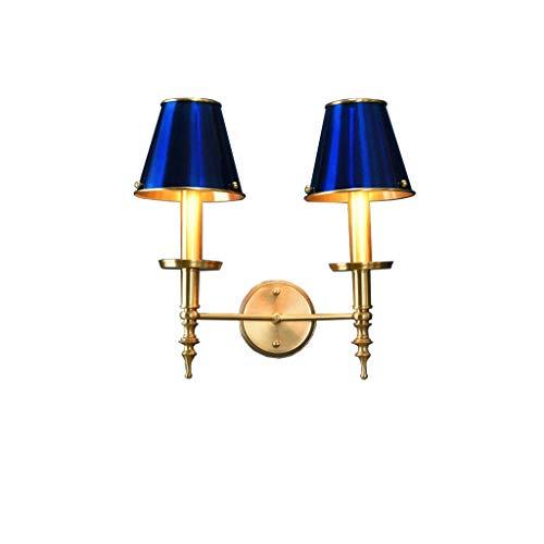 HSWYJJPFB Apliques de Interior Lampara Pared Dormitorio Lámpara de Cobre Doble Cabeza Lámpara de Pared Lámpara de Noche Pasillo Luces Corredor Restaurante Iluminación de Fondo (Color : Blue)