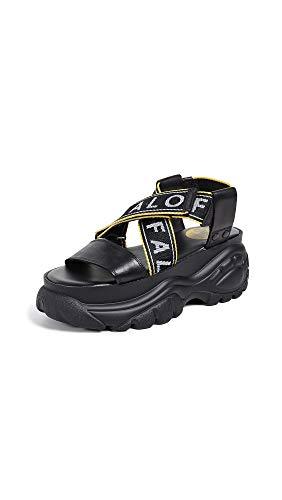 Buffalo Damen BO Plateau-Schuhe Sandalen Schwarz 37 EU