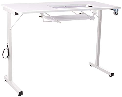 SewingRite Portable Folding Craft Table with Steel Legs for Silhouette Portrait 2 Cutting Machine, White - Perfect for Home, Office and Business