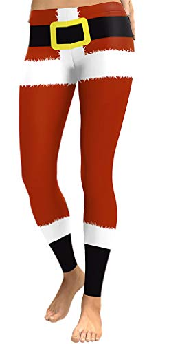 For G and PL Christmas Women Santa Stretchy Ugly Casual Legging Ugly Santa Claus S
