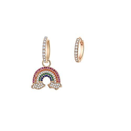 Orecchini a cerchio da donna, ipoallergenici, placcati in argento, a pendente, in oro rosa, con zirconi brillanti, idea regalo per mamma e amici e Rame, colore: Placcato oro., cod. TEH0323-GD