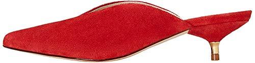 find. Mules Damen aus Leder mit Kittenheels und spitzer Vorderkappe, Rot (Red), 38 EU