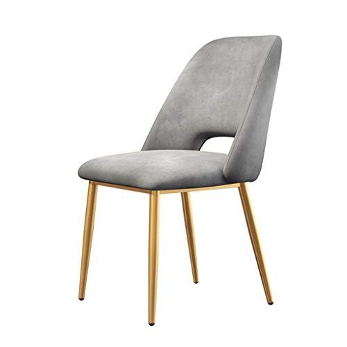 Sillón moderno de cocina, patas de hierro forjado de terciopelo, sillas de comedor, para oficina, salón, hogar, comedor, recepción, (color: gris, tamaño: patas doradas)