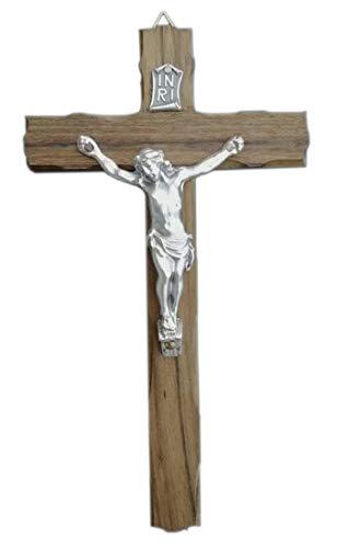 Eurofusioni Crocefisso da Parete in Legno di Noce e Cristo Placcato Argento - Croce h 18 cm
