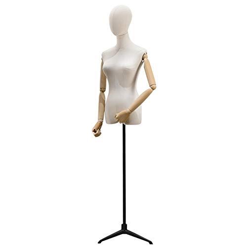 CHAXIA-Maniquí Torso Busto Femenina Tienda De Ropa for Mujeres Ropa Soporte De Exhibición Vestido De Novia Forma del Vestido, con Molde De Cabeza Brazo Base De Trípode, 3 Colores Disponibles