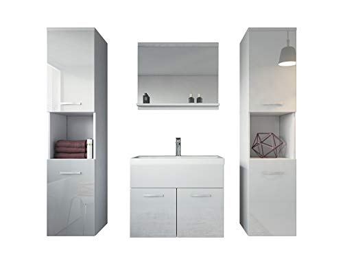 Badezimmer Badmöbel Set Montreal XL 60 cm Waschbecken Weiß Hochglanz Fronten - Unterschrank Hochschrank Waschtisch Möbel