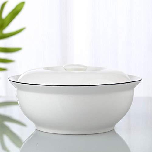 Cuenco de fideosTazón de sopa de estilo japonés,de 9 pulgadas, olla de sopa, cuchara, vajilla combinada con tapa-1 sartén de 9 pulgadas (línea negra)