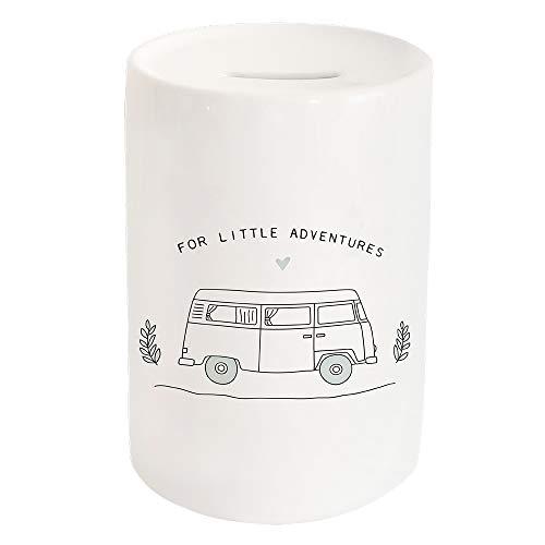 Odernichtoderdoch Spardose Little Adventure - Sparbüchse aus Keramik mit Einwurfschlitz und Gummistopfen - Maße 15 x 10 cm