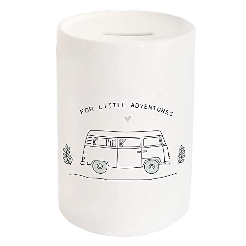 Odernichtoderoch Spardose Little Adventure - Sparbüchse aus Keramik mit Einwurfschlitz und Gummistopfen - Maße 15 x 10 cm